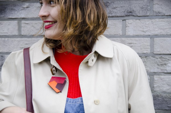 Neon Sweater, vintage trench, dungarees and geometric brooch.