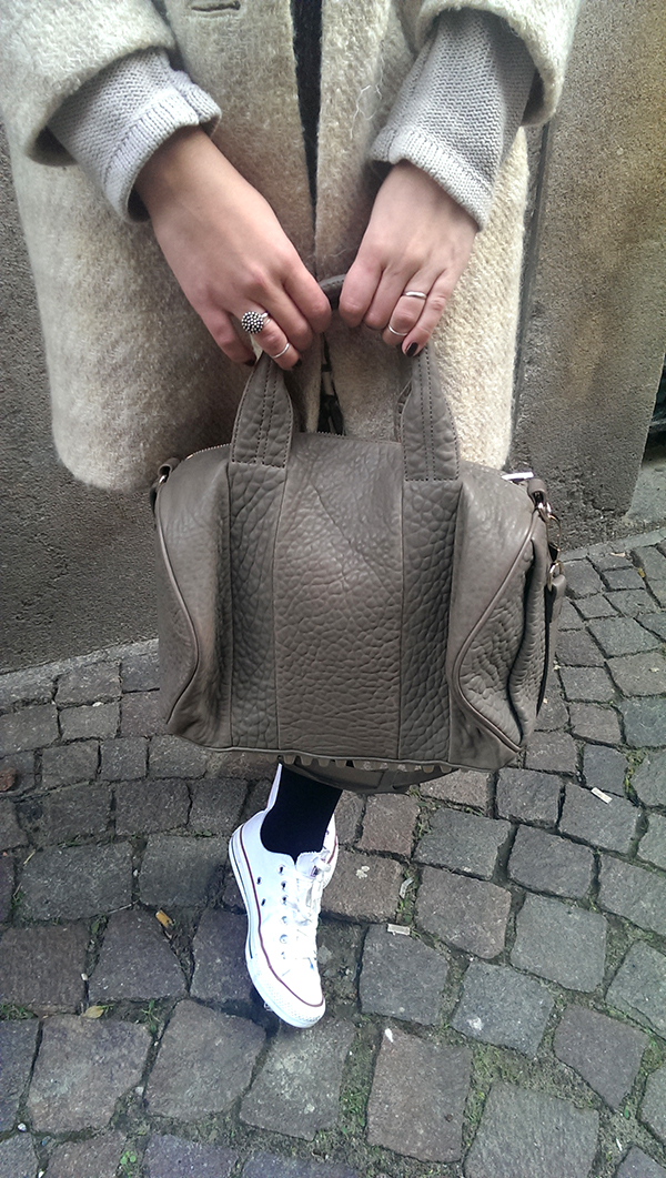 Neutral coat, white converse, Alexander Wang Rocco