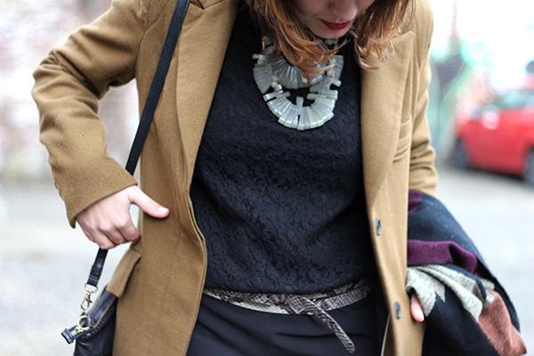 Cognac coat, black jumpsuit & statement necklace