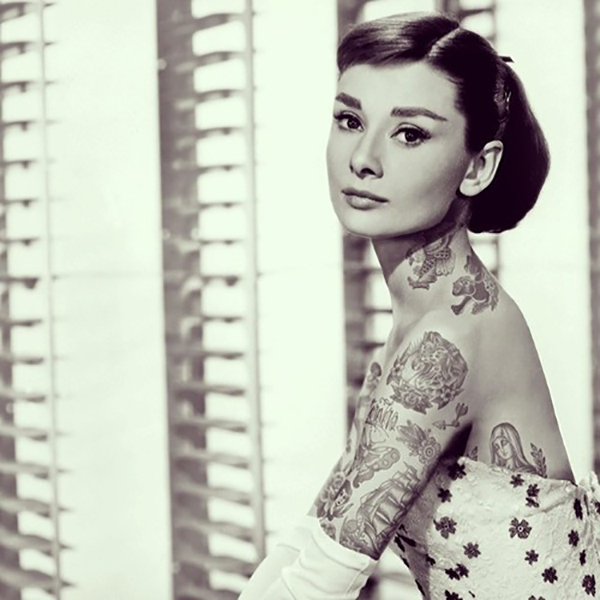 Inked Icons// Audrey Hepburn Tattoos Sabrina