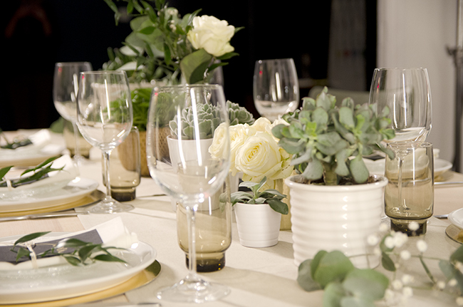 Neutral Table Setting With Succulents