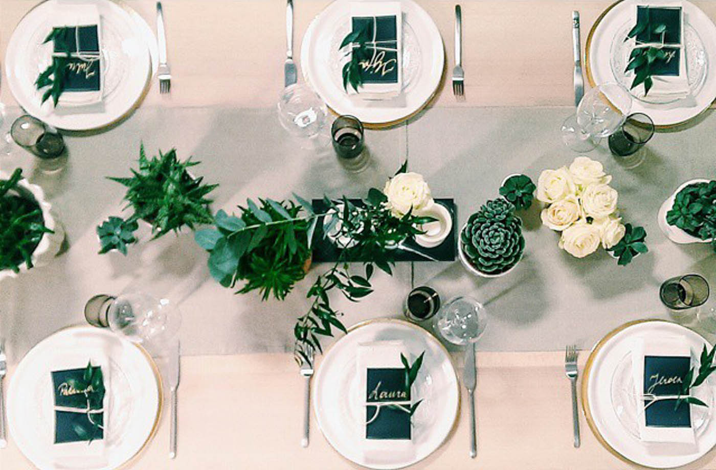 Neutral Tablesetting In Black White And Gold With Succulents //  Noglitternoglory.com