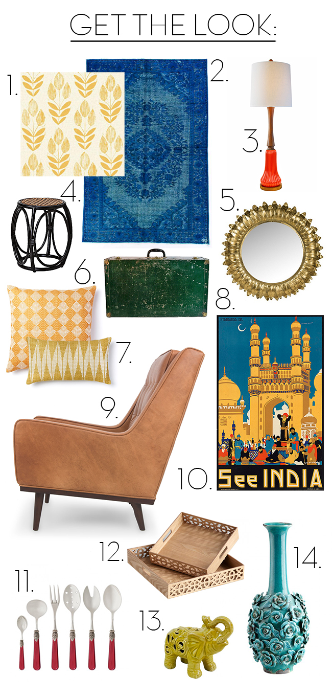 Get the look - The Darjeeling Limited // Wes Anderson inspired interior picks via noglitternoglory.com