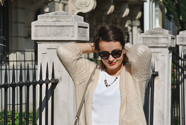 Knitted Cardigan and rose gold details via noglitternoglory.com