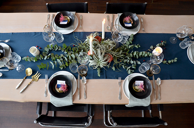 Festive Holiday Table with Air Plants & Eucalyptus  // noglitternoglory.com