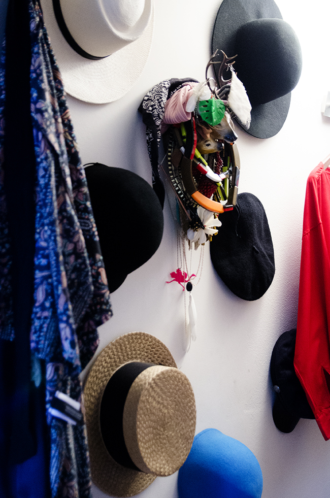 Nathalie and Michiel's Arty & Eclectic Apartment // hat wall