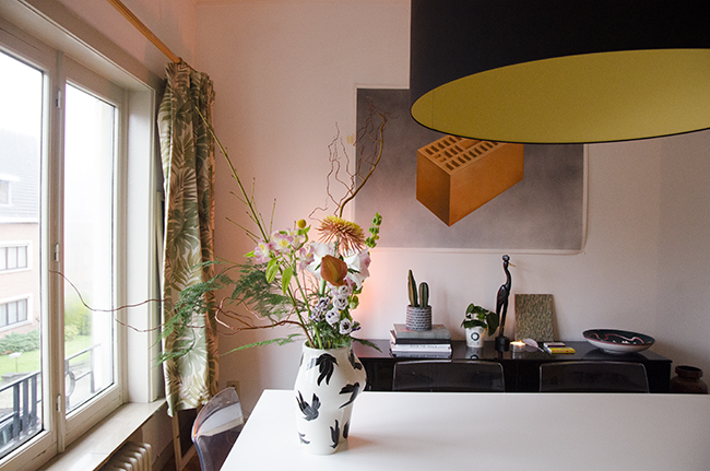 Nathalie and Michiel's Arty & Eclectic Apartment // Vaso di Culo & Brick artwork by Michiel Pelerents
