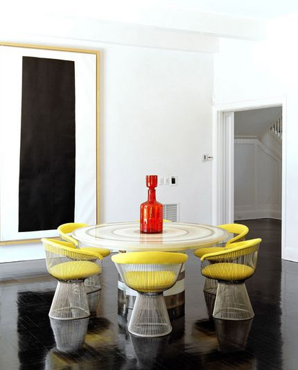 Platner Arm Chair Inspiration // Yellow and polished nickel