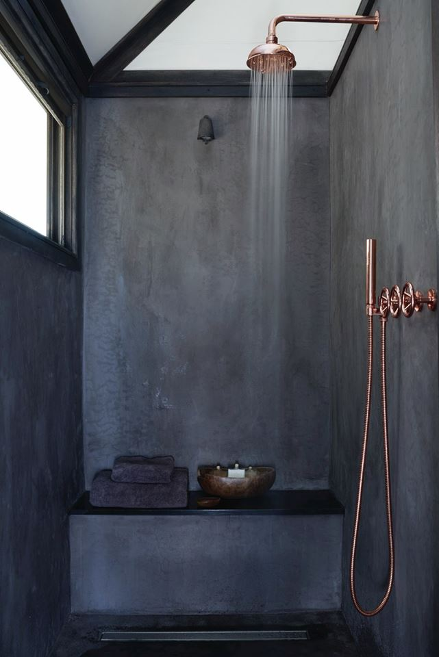 black and copper bathroom inspiration via noglitternoglorycom - Bathroom Inspiration