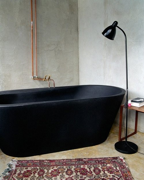 Black and Copper Bathroom Inspiration - via noglitternoglory.com