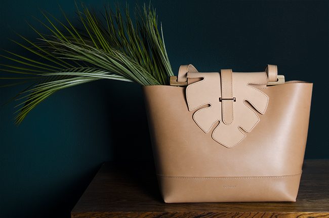 Olive medium tote with palm leaf by Dcember bags - www.noglitternoglory.com