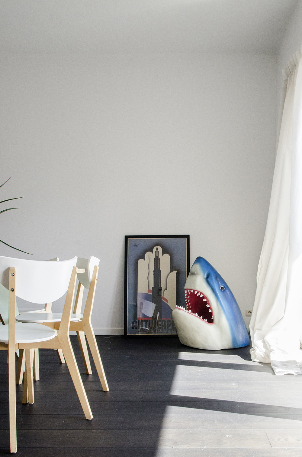 Katrin & Maarten's Dinosaur and Shark Sanctuary // Home tour of a quirky, bright loft in Antwerp Belgium