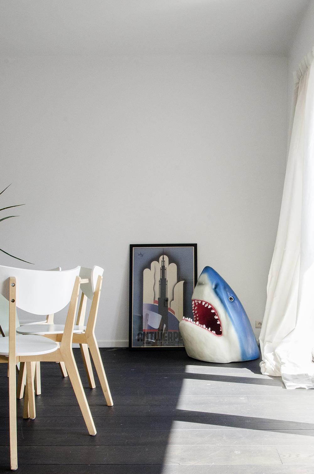 Katrin & Maarten's Dinosaur and Shark Sanctuary // Home tour of a quirky, bright loft in Antwerp Belgium