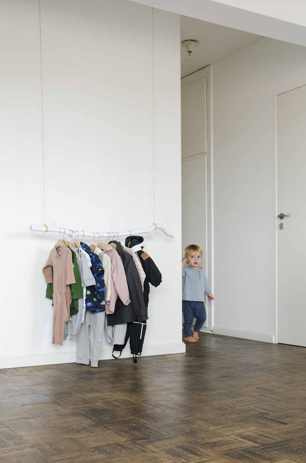 Young Creatives: Melanie Van Dooren //Inside the home and workplace of a Jewelry Designer //DIY clothing rack in the nursery