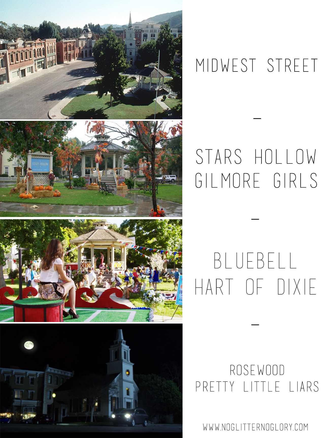 10 fun facts about Gilmore Girls // Midwest street - Also the town square of Pretty Little Liars and Hart of Dixie