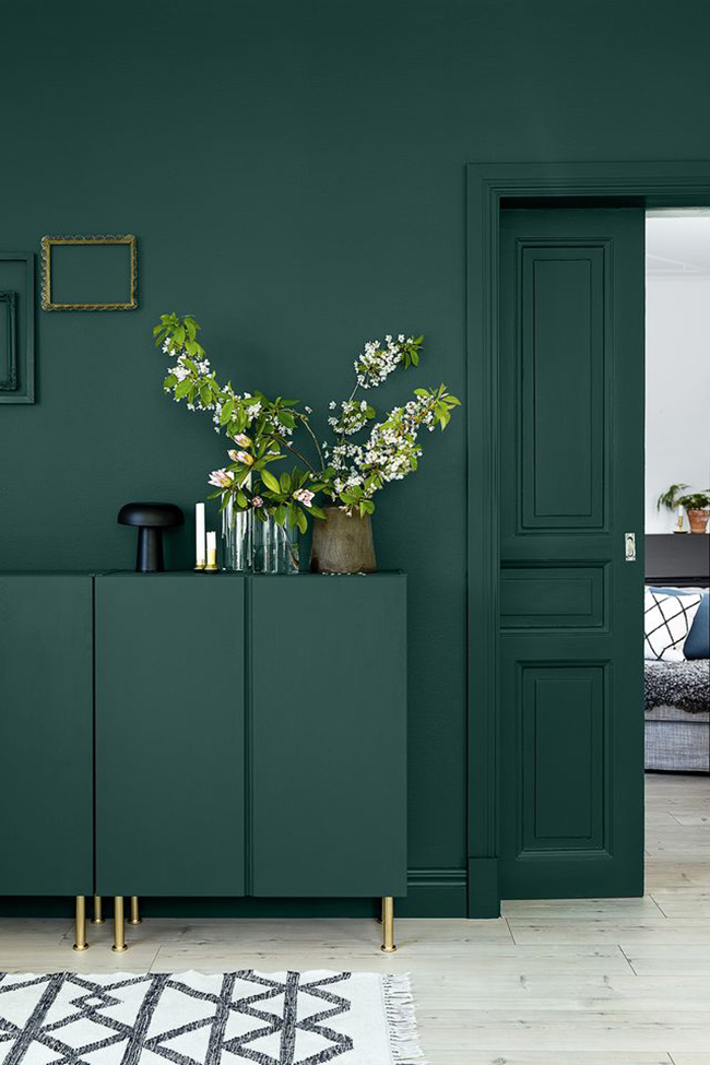 Dark Green Wall Inspiration via No Glitter No Glory