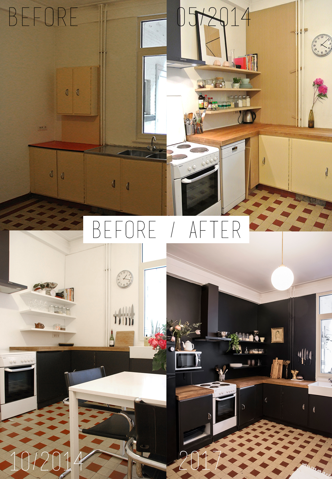 Home Renovation: Black Walls in the Kitchen / No Glitter No Glory / Before & After