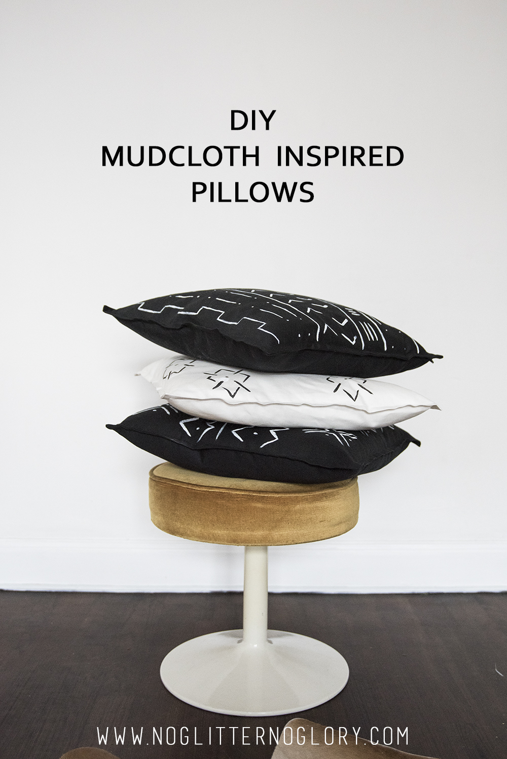 DIY Mudcloth Inspired Pillows / No Glitter No Glory